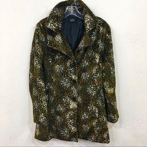 1990s Clueless Style Leopard Vegan Fur Coat